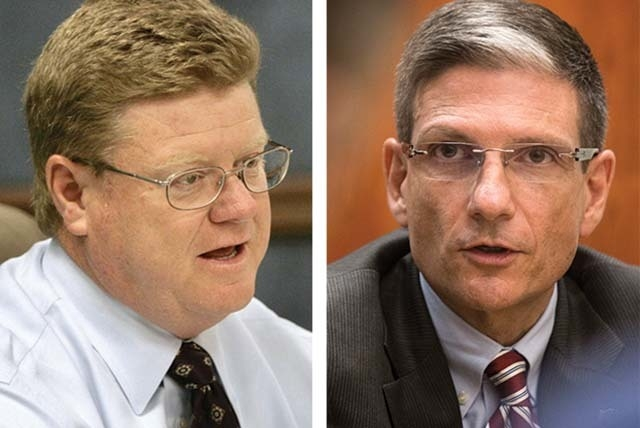 Nevada Republican Reps. Mark Amodei, left, and Joe Heck voted for a bill on Friday that would let insurance companies continue to sell health plans that were being canceled under Obamacare rules.  ...