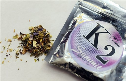 "This file photo shows a package of K2, a concoction of dried herbs sprayed with chemicals. The chemically treated, smokable leaves are known by names such as ""Spice"" and ""K2""  (AP Photo/Kelley McC ..."