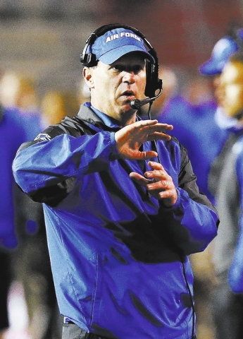 Air Force coach Troy Calhoun, shown Nov. 8 during the Falcons' 45-37 loss to New Mexico, will fail to guide Air Force to a bowl game for the first time in his seven seasons at the helm. The Falc ...
