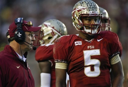 Florida State quarterback Jameis Winston look on from the sidelines during the first half of a game against Idaho in Tallahassee, Fla. (AP Photo/Phil Sears)