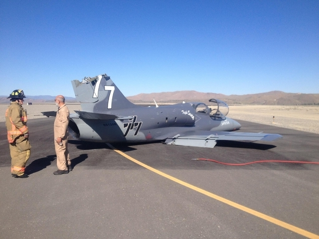A Czech-built military training jet sitting on the runway at Reno Stead Airport after it collided with another plane and suffered tail damage on June 13. The pilot was forced to make a belly landi ...