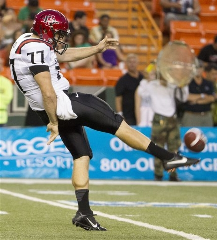 San Diego State punter Joel Alesi  punts in the first quarter of a game on Nov. 16 in Honolulu. (AP Photo/Eugene Tanner)