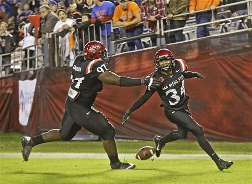 San Diego State defensive back J.J. Whittaker, right, celebrates with defensive lineman Dontrell Onuoha while scoring against Boise State. San Diego State won the game 34-31 in overtime.  (AP Phot ...