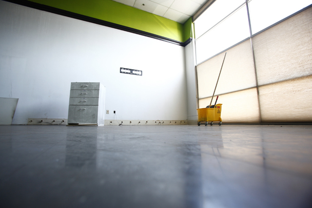 A cleared out space is seen at the lobby area of Social-Sport, a place for autistic children to learn social skills through sports, art and classes, is seen at 7055 Windy St. in Las Vegas on Monda ...