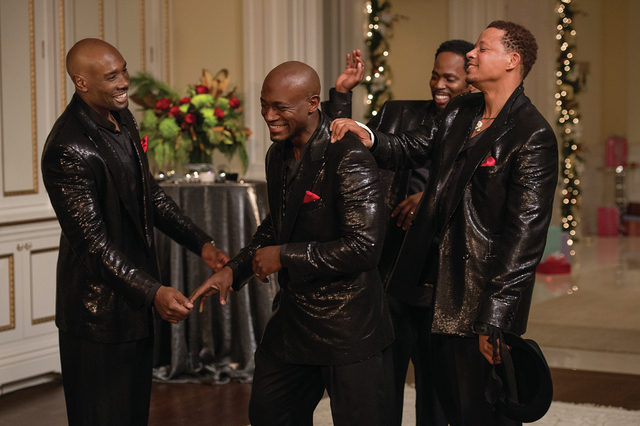 """Film Title: The Best Man Holiday  (L to R) Lance (MORRIS CHESTNUT), Harper (TAYE DIGGS), Julian (HAROLD PERRINEAU) and Quentin (TERRENCE HOWARD) share a laugh in """"The Best Man Holiday"""",  ..."""
