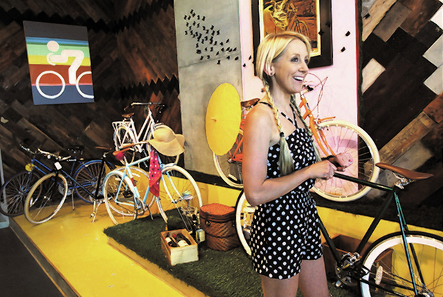 Amie Pellegrini hangs out in her shop The Town Bike at the Juhl Lofts in Las Vegas on Sept. 17. (Jason Bean/Las Vegas Review-Journal file photo)