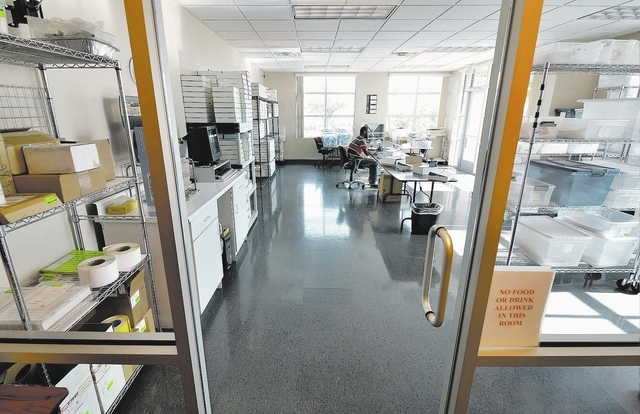 The packaging room is shown at Biodermis headquarters at 1820 Whitney Mesa Drive in Henderson on Nov. 20. (Bill Hughes/Las Vegas Review-Journal)