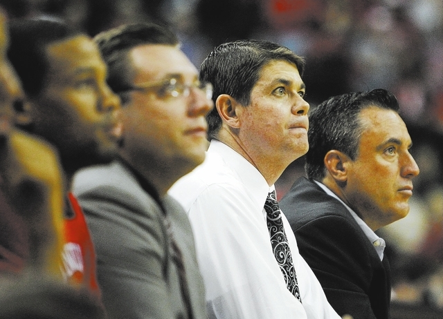 UNLV head coach Dave Rice, second from right, watches his team take on Adams State during their exhibition basketball game at the Thomas & Mack Center in Las Vegas on Nov. 5, 2013. (Jason Bean/Las ...