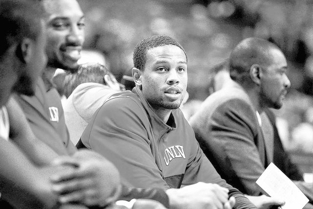 UNLV's Bryce Dejean-Jones sits injured on the bench during his team's exhibition basketball game against Adams State at the Thomas & Mack Center in Las Vegas on Nov. 5, 2013. (Jason Bean/Las Vegas ...