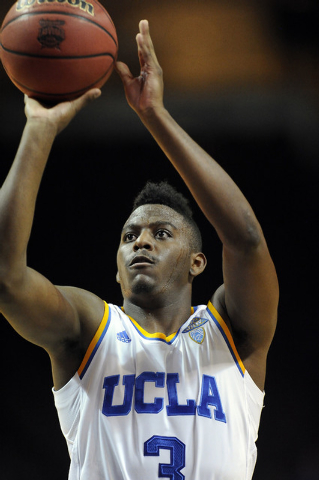 UCLA Bruins guard Jordan Adams shoots a free throw against the Nevada Wolf Pack during their NCAA Basketball game in the Las Vegas Invitational college basketball tournament at Orleans Arena in La ...