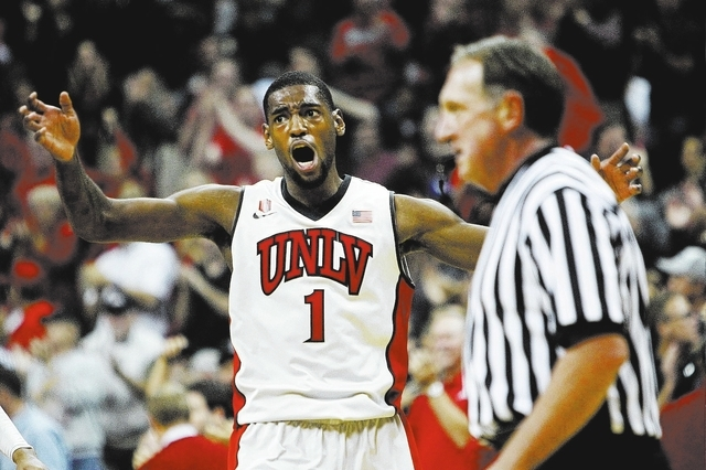 UNLV's Roscoe Smith gets fired up while taking on Arizona State at the Thomas & Mack Center in Las Vegas on Nov. 19. (Jason Bean /Las Vegas Review-Journal)