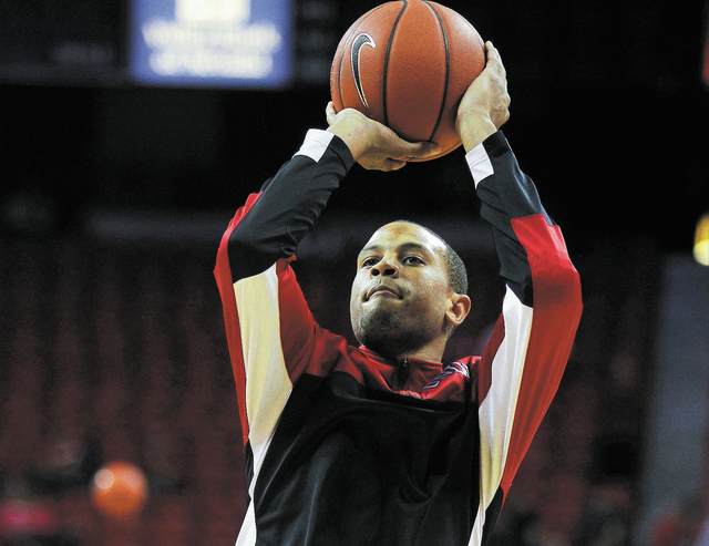 UNLV's Bryce Dejean-Jones warms up before taking on UCSB during their basketball game at the Thomas & Mack Center in Las Vegas on Nov. 12, 2013. (Jason Bean /Las Vegas Review-Journal)
