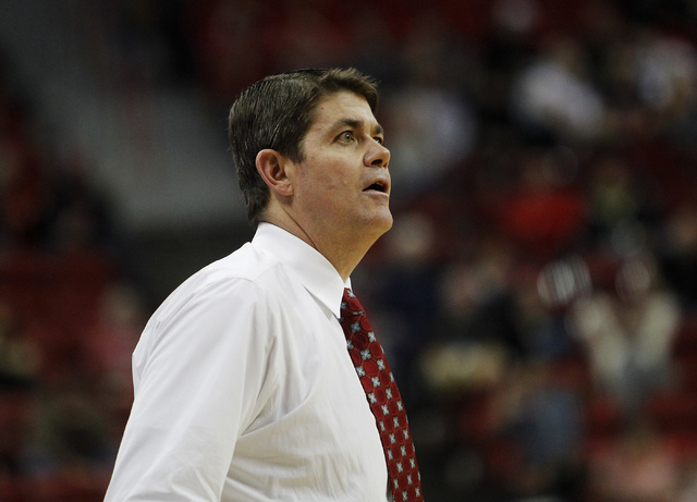 UNLV head coach Dave Rice watches his team while taking on UCSB during their basketball game at the Thomas & Mack Center in Las Vegas on Nov. 12, 2013. (Jason Bean /Las Vegas Review-Journal)