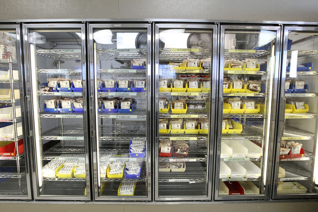 Blood stored at United Blood Services in Las Vegas, is seen Monday, Nov. 11, 2013. (Jerry Henkel/Las Vegas Review-Journal)
