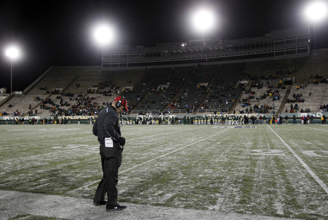 UNLV coach Bobby Hauck reacts after the Rebels failed to convert on a third-down play in the red zone against Colorado State on Nov. 10, 2012, at Fort Collins, Colo. The Rebels suffered a 33-11 lo ...