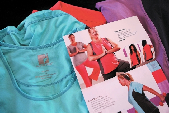 Several items from Las Vegas resident and entrepreneur Susan Merritt's Live Life Large clothing line and catalog are shown Friday, Nov. 8, 2013, in Las Vegas. Merritt's line features plus-s ...
