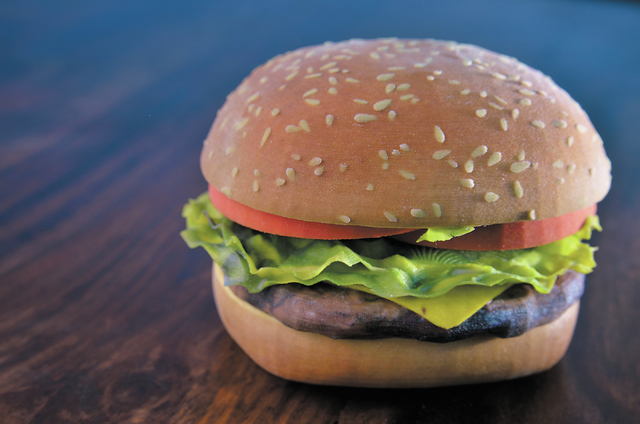 A hamburger model used as a promotional piece is shown at MakeIt, a 3-D printing company, at 5075 W. Diablo Drive in Las Vegas on Wednesday, Oct. 30, 2013. The company uses a computer to render th ...
