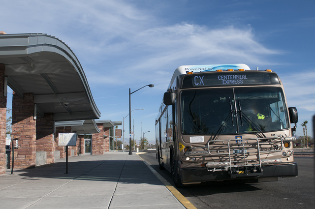 A Centennial Express bus is seen at Centennial Hills Transit Center in Las Vegas Tuesday, Nov. 26, 2013. The Regional Transportation Commission is running a pilot program that offers free Wi-Fi on ...