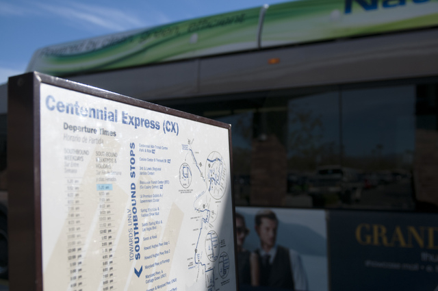 A sign shows the time schedule of the Centennial Express at Centennial Hills Transit Center in Las Vegas Tuesday, Nov. 26, 2013. The Regional Transportation Commission is running a pilot program t ...