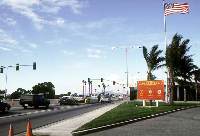 The main gate of Camp Pendleton.  This is the main road for traffic into the base.  This gate has been open and manned by Marines 24  hours a day. (Courtesy Wikimedia)