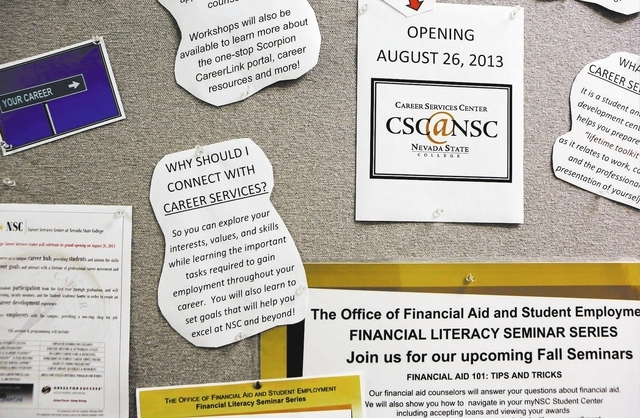 Information is posted on a board outside the Career Services Center at Nevada State College Tuesday, Oct. 29, 2013, in Henderson. The center, which opened at the start of the fall semester last Au ...