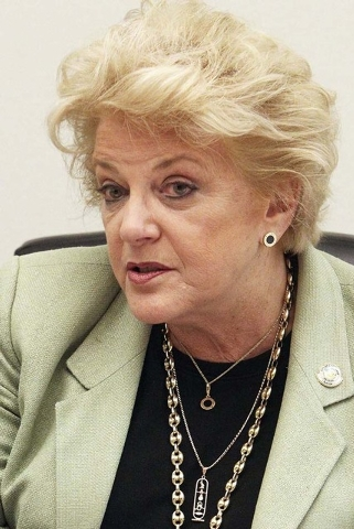 Las Vegas Mayor Carolyn Goodman talks about consolidation of services between Las Vegas and North Las Vegas at an editorial board meeting at the Review-Journal in Las Vegas, Thursday, Oct. 10, 201 ...
