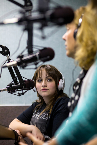 """Corey Taylor, 15, hosts her weekly talk radio show, """"Corey Taylor Talks,"""" at Lotus Broadcasting, 6655 W. Sahara Ave., Nov. 14, 2013. The Northwest Career and Technical Academy freshman discusses i ..."""