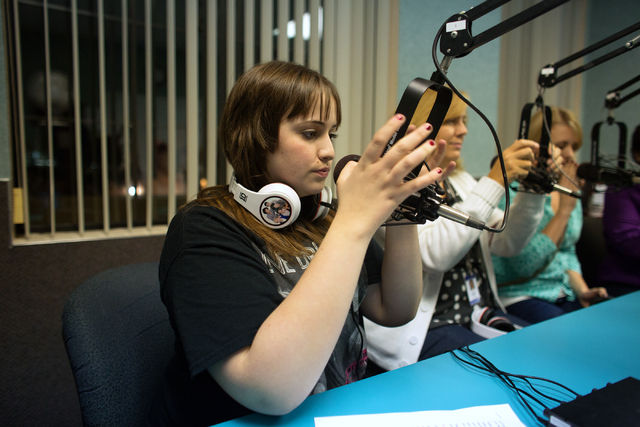 """Corey Taylor, 15, hosts her weekly talk radio show, """"Corey Taylor Talks,"""" at Lotus Broadcasting, located at 6655 W. Sahara Ave., Thursday, Nov. 14, 2013. The Northwest Career and Technic ..."""