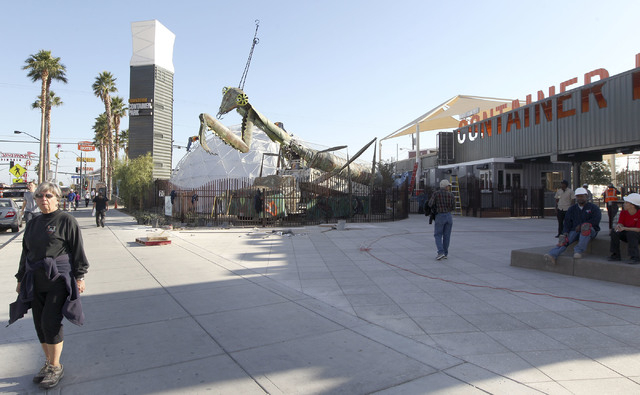 Work continues in the Container Park in downtown Las Vegas, Wednesday, Nov. 20, 2013. The area will have a soft opening on Saturday. (Jerry Henkel/Las Vegas Review-Journal)