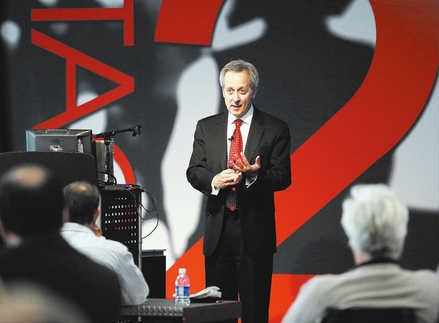Jeff Lanza answers questions during a Cyber Fraud talk sponsored by City National Bank at The InNEVation Center on Wednesday in Las Vegas. Lanza is a retired FBI agent and spokesman who also autho ...
