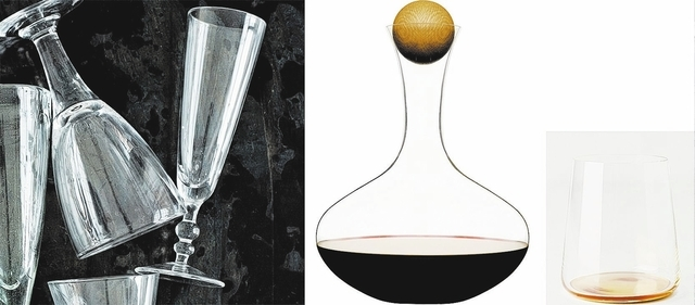 Left to right: The Camden Champagne Flute is a good choice for classy cocktails and its dishwasher-safe; the Oval Oak Wine Carafe is modern and classic at the same time; stemless glasses, such as  ...
