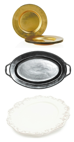 Top to bottom: Gold chargers, such as the Paramount Dinnerware Charger, can be paired with a rustic-style plate for a polished, on-trend look; silver and pewter trays, such as Juliska's Pewter Sto ...