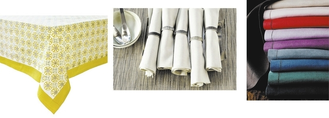 Left to right: Couleur Nature's Natural Bleu DChine Tablecloth (has a subtle autumnal feel; Chilewichs Small Napkin Rings, in various colors, combine just a hint of metallic shine with the texture ...
