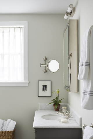 Mayhew double-hung towel rods in the guest bathroom so there are plenty of white terry towels available. (Dylan Chandler/Special to the Washington Post)