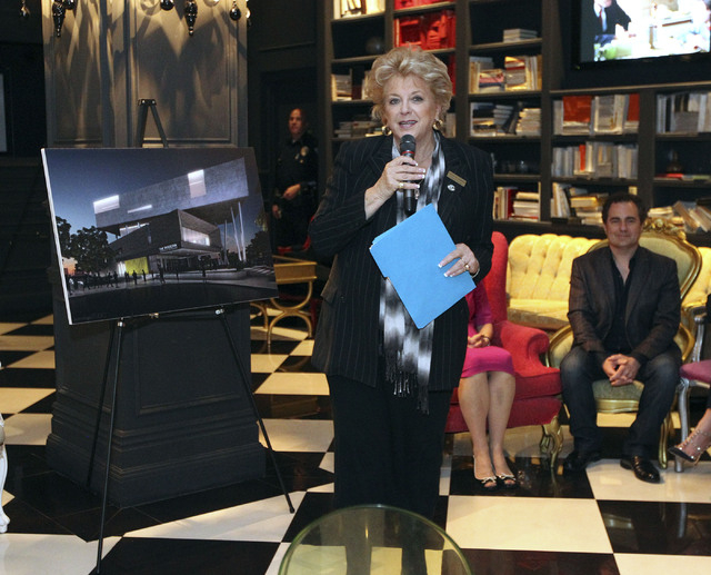 Las Vegas Mayor Carolyn Goodman speaks about the proposed new Modern Museum of Contemporary Art at the Lady Silvia in Las Vegas, Thursday, Nov. 14, 2013.  A rendering of the museum is behind her.  ...