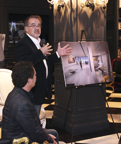 Eric Strain, of Assemblage Studio, speaks about the proposed new Modern Museum of Contemporary Art  at the Lady Silvia in Las Vegas, Thursday, Nov. 14, 2013. The firm designed the new building, se ...