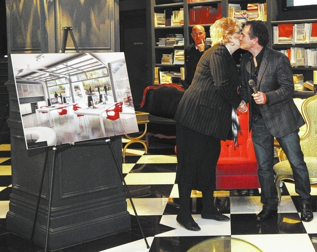Las Vegas Mayor Carolyn Goodman greets Brett Wesley Sperry as they discuss the proposed new Modern Museum of Contemporary Art at the Lady Silvia in Las Vegas, Thursday, Nov. 14, 2013.  Sperry dona ...