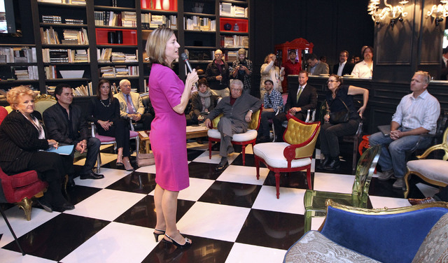 Julie Murray, of Moonridge Group Philanthropy Advisors, discusses donors as she announces the proposed new Modern Museum of Contemporary Art at the Lady Silvia in Las Vegas, Thursday, Nov. 14, 201 ...
