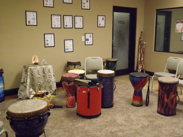 Music 4 Life, 2975. S Rainbow Blvd., Suite B, in Las Vegas, provides drums for weekly classes as seen on Oct. 14, 2013. The center uses music medicine tools to help clients obtain a positive minds ...