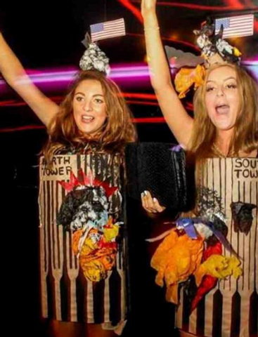 Two U.K. women were criticized after winning a Halloween costume contest for their costumes depicting the twin towers shortly after the 9/11 terrorist attack. (@Josh_Williams94/Twitter)