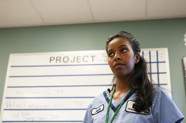 Seble Balcha, an environmental service aide at UMC, is seen waiting for her shift to start on Friday, Oct. 25, 2013, in Las Vegas. Environmental service aides act as the first line of defense agai ...