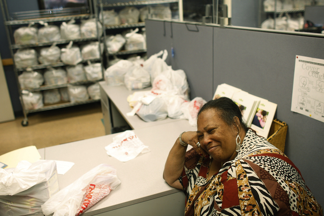 Minnie Brooks, 63, smiles during a visit to the food bank at Catholic Charities of Southern Nevada on July 14, 2010, in Las Vegas. Brooks came to the food bank with her daughters and several grand ...
