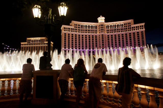 An exterior view of the Bellagio Hotel Casino on Las Vegas Boulevard during its fountain water show Wednesday, Aug. 1, 2007. (CRAIG L. MORAN/LAS VEGAS REVIEW-JOURNAL)