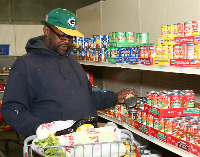 Turner Johnson selects a can of soup from a shelf during his visit to the Lutheran Social Services food bank, 73 Spectrum Blvd., in Las Vegas on Friday, Dec. 2, 2011. (File, JIM MILLER/LAS VEGAS R ...