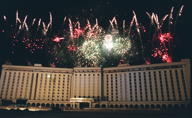 Fireworks pop and explode above the Hacienda hotel-casino on the Las Vegas Strip on New Years Eve, Dec. 31, 1996, prior to being imploded to make room for a new casino. (Clint Karlsen/Las Vegas Re ...