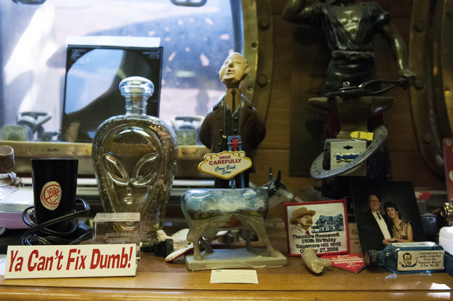 A variety of memorabilia is seen at the home of former Lt. Gov. Lonnie Hammargren during an open house tour of his historical collections in Las Vegas, Saturday, Nov. 2, 2013. (Erik Verduzco/Las V ...