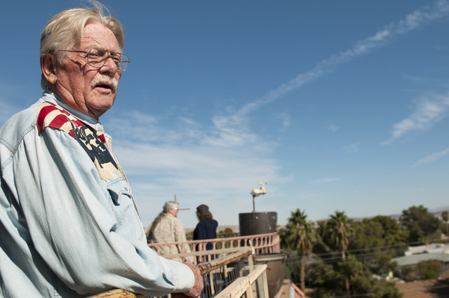 Former Lt. Gov. Lonnie Hammargren is seen on the roof of his home overlooking the neighborhood during an open house tour of his historical collections in Las Vegas, Saturday, Nov. 2, 2013. (Erik V ...