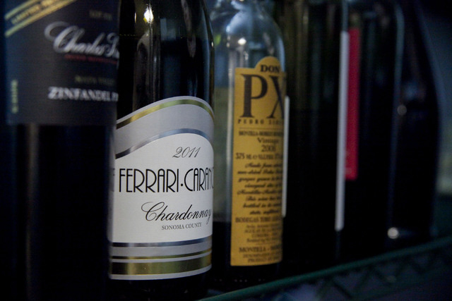 Some of the wine selection sits in a refrigerator at Gimme Some Sugar Bake Shoppe 19 S. Stephanie St. Henderson, Tuesday, Nov. 19, 2013.  The shop is due to open its new dessert and wine bar Nov.  ...