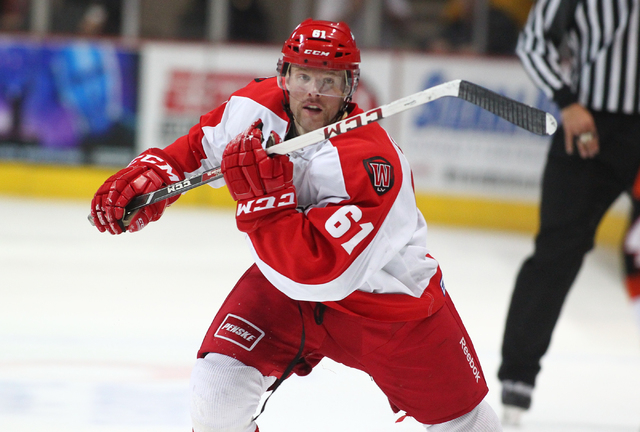 Las Vegas Wranglers' Geoff Irwin heads up the ice rink while playing against the Fort Wayne Komets at the Orleans Arena in Las Vegas on Saturday, Nov. 2, 2013. (Chase Stevens/Las Vegas Review-Journal)