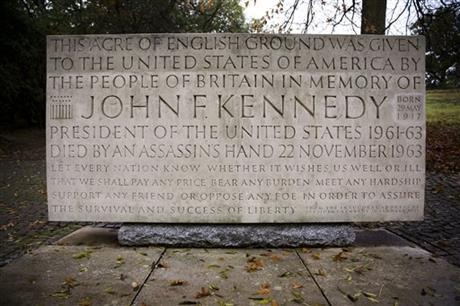 In this Tuesday, Nov. 12, 2013 photo, autumn leaves lie around the John F. Kennedy Memorial in Runnymede, England. This small piece of America sits on an English hillside near the River Thames mea ...